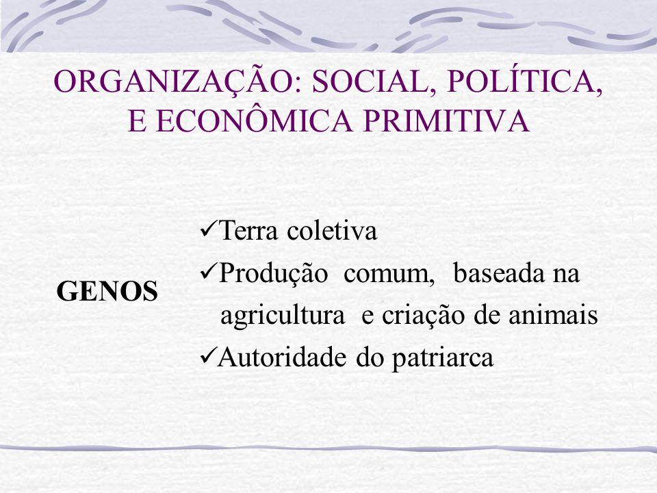 ORGANIZAÇÃO: SOCIAL, POLÍTICA, E ECONÔMICA PRIMITIVA GENOS Terra coletiva Produção comum, baseada na agricultura e criação de animais Autoridade do patriarca