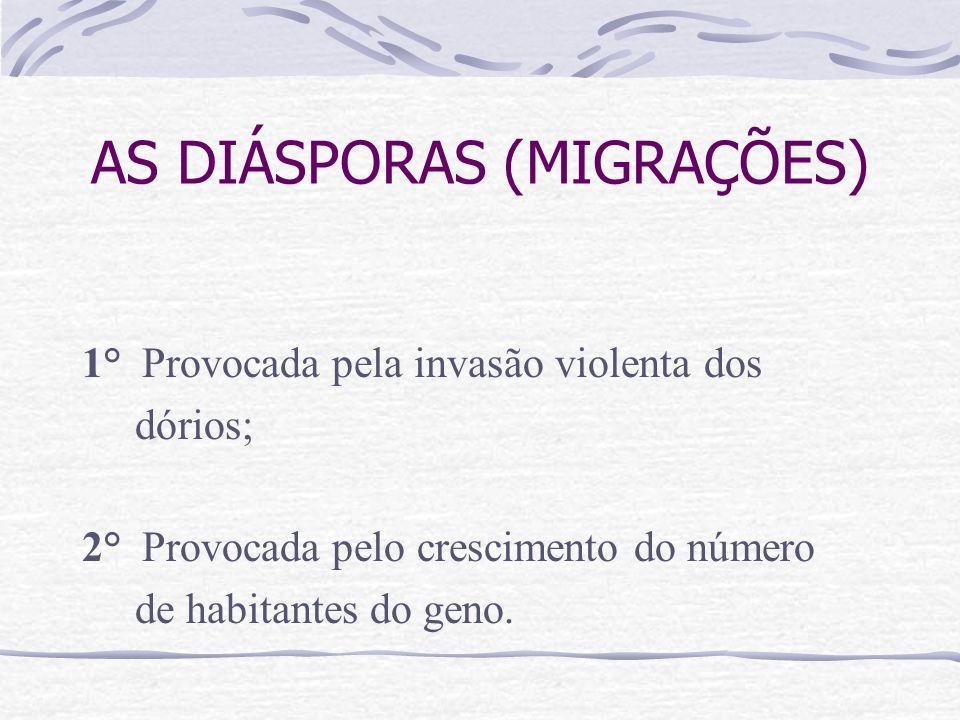 AS DIÁSPORAS (MIGRAÇÕES) 1° Provocada pela invasão violenta dos dórios; 2° Provocada pelo crescimento do número de habitantes do geno.