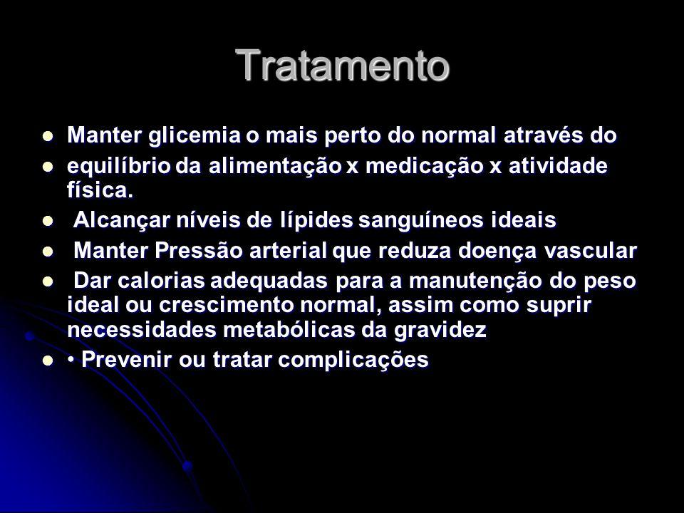 Tratamento Manter glicemia o mais perto do normal através do Manter glicemia o mais perto do normal através do equilíbrio da alimentação x medicação x atividade física.