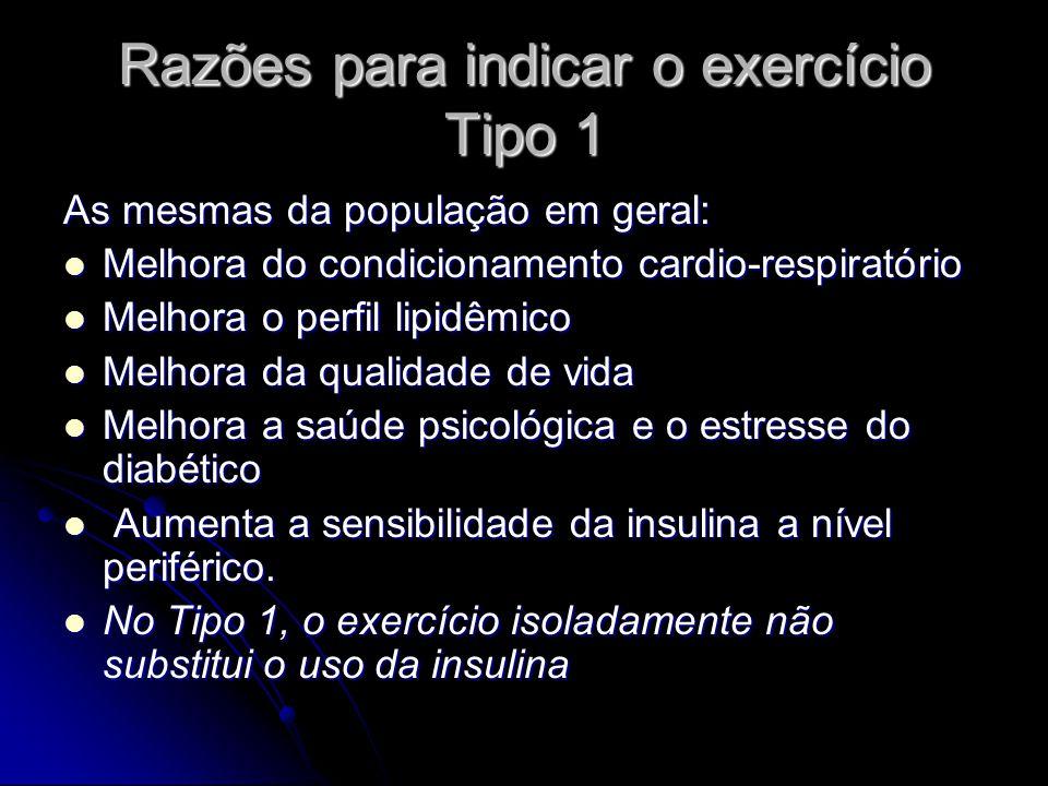 Razões para indicar o exercício Tipo 1 As mesmas da população em geral: Melhora do condicionamento cardio-respiratório Melhora do condicionamento card
