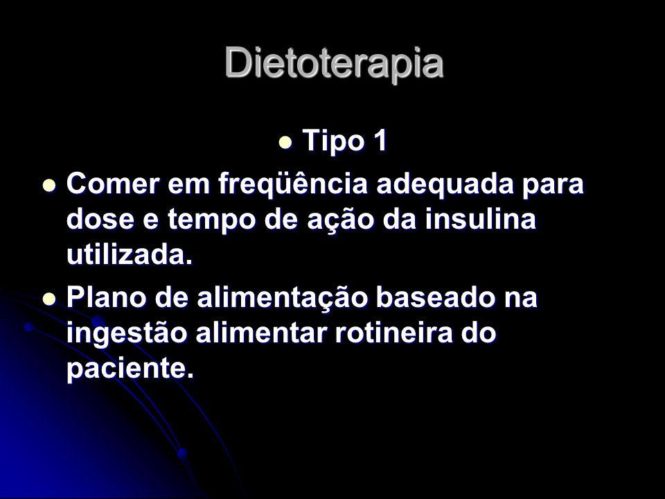 Dietoterapia Tipo 1 Tipo 1 Comer em freqüência adequada para dose e tempo de ação da insulina utilizada. Comer em freqüência adequada para dose e temp