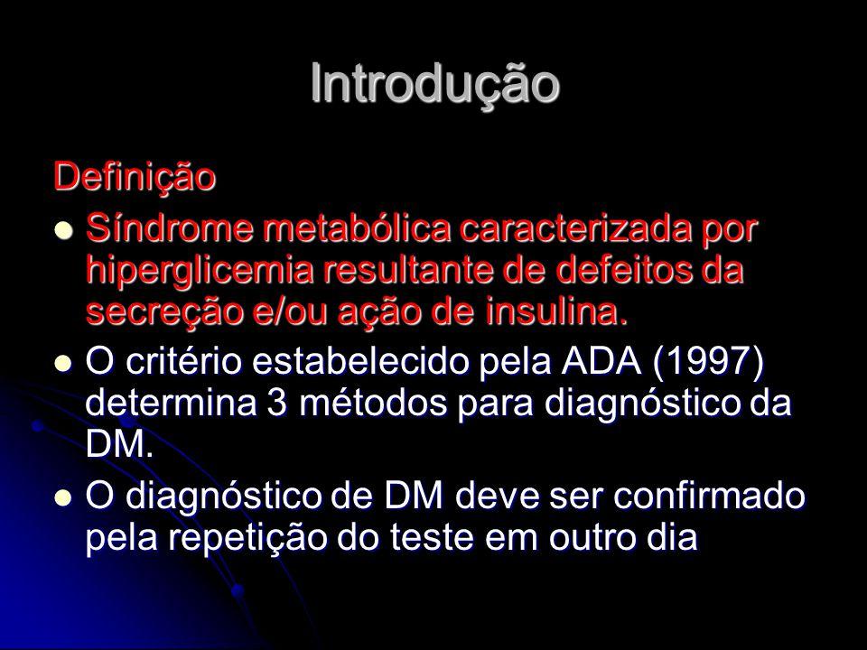 Introdução Definição Síndrome metabólica caracterizada por hiperglicemia resultante de defeitos da secreção e/ou ação de insulina. Síndrome metabólica