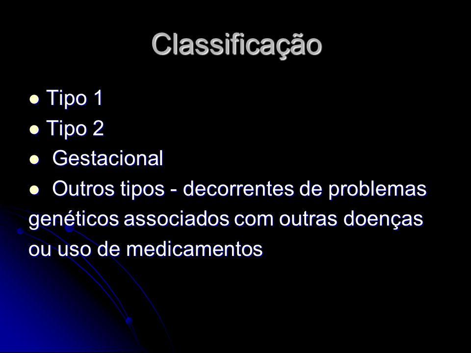 Classificação Tipo 1 Tipo 1 Tipo 2 Tipo 2 Gestacional Gestacional Outros tipos - decorrentes de problemas Outros tipos - decorrentes de problemas genéticos associados com outras doenças ou uso de medicamentos