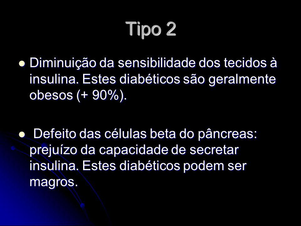 Tipo 2 Diminuição da sensibilidade dos tecidos à insulina. Estes diabéticos são geralmente obesos (+ 90%). Diminuição da sensibilidade dos tecidos à i