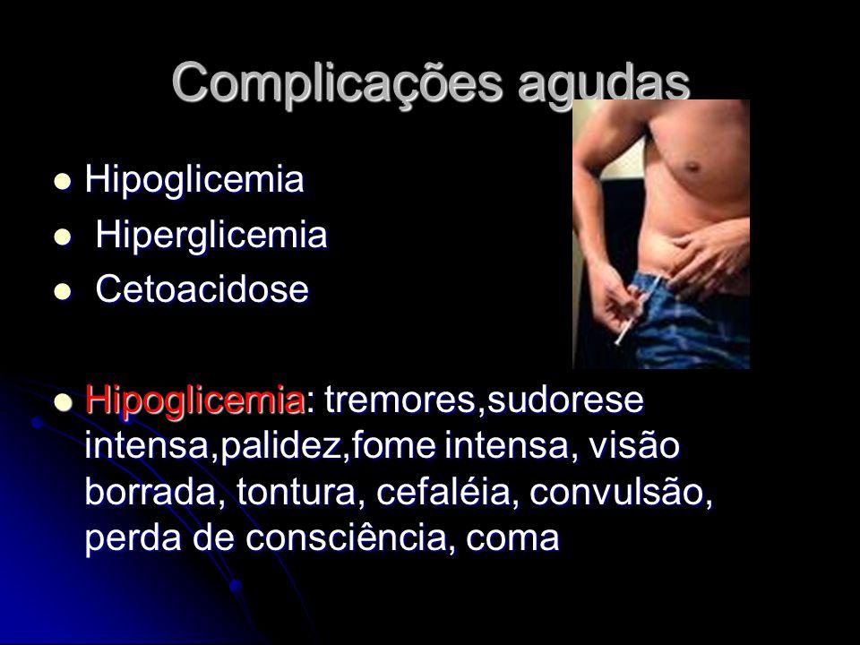 Complicações agudas Hipoglicemia Hipoglicemia Hiperglicemia Hiperglicemia Cetoacidose Cetoacidose Hipoglicemia: tremores,sudorese intensa,palidez,fome intensa, visão borrada, tontura, cefaléia, convulsão, perda de consciência, coma Hipoglicemia: tremores,sudorese intensa,palidez,fome intensa, visão borrada, tontura, cefaléia, convulsão, perda de consciência, coma