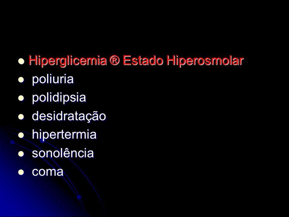 Hiperglicemia ® Estado Hiperosmolar Hiperglicemia ® Estado Hiperosmolar poliuria poliuria polidipsia polidipsia desidratação desidratação hipertermia