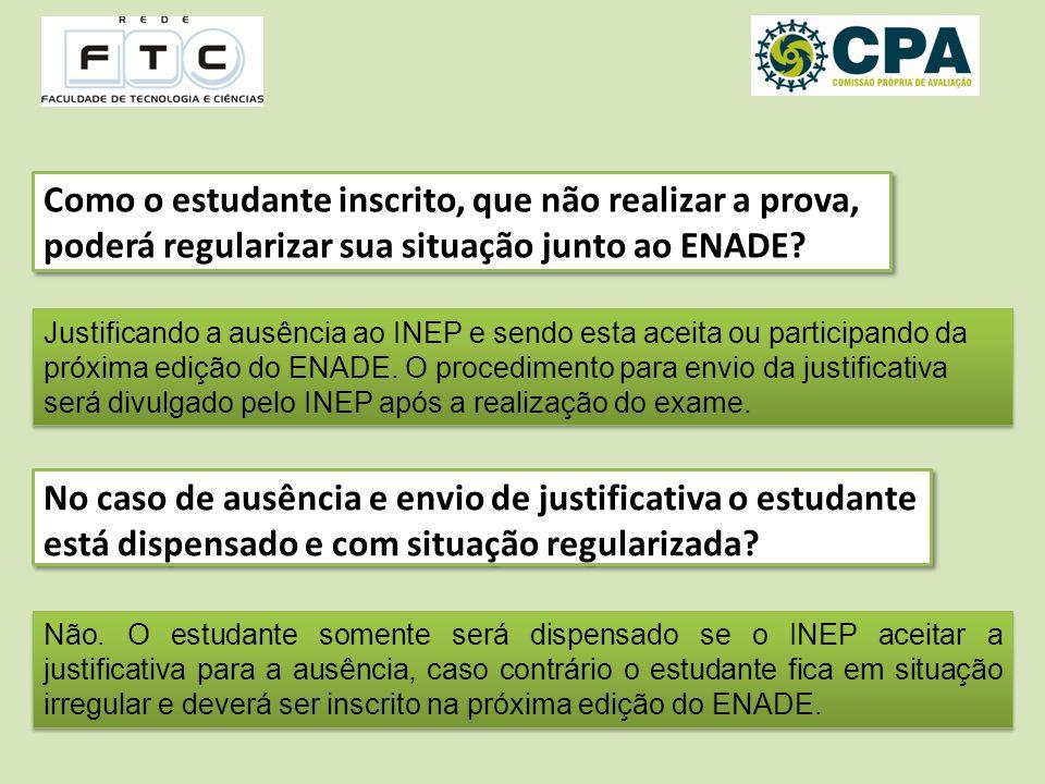 Como o estudante inscrito, que não realizar a prova, poderá regularizar sua situação junto ao ENADE.