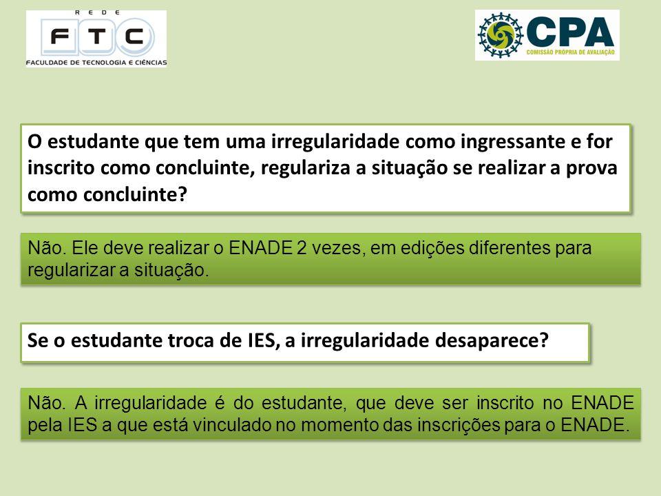 O estudante que tem uma irregularidade como ingressante e for inscrito como concluinte, regulariza a situação se realizar a prova como concluinte.