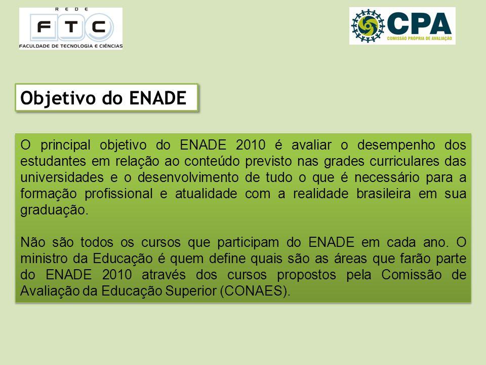 Objetivo do ENADE O principal objetivo do ENADE 2010 é avaliar o desempenho dos estudantes em relação ao conteúdo previsto nas grades curriculares das universidades e o desenvolvimento de tudo o que é necessário para a formação profissional e atualidade com a realidade brasileira em sua graduação.