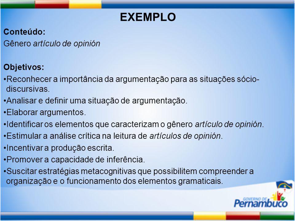 Conteúdo: Gênero artículo de opinión Objetivos: Reconhecer a importância da argumentação para as situações sócio- discursivas.