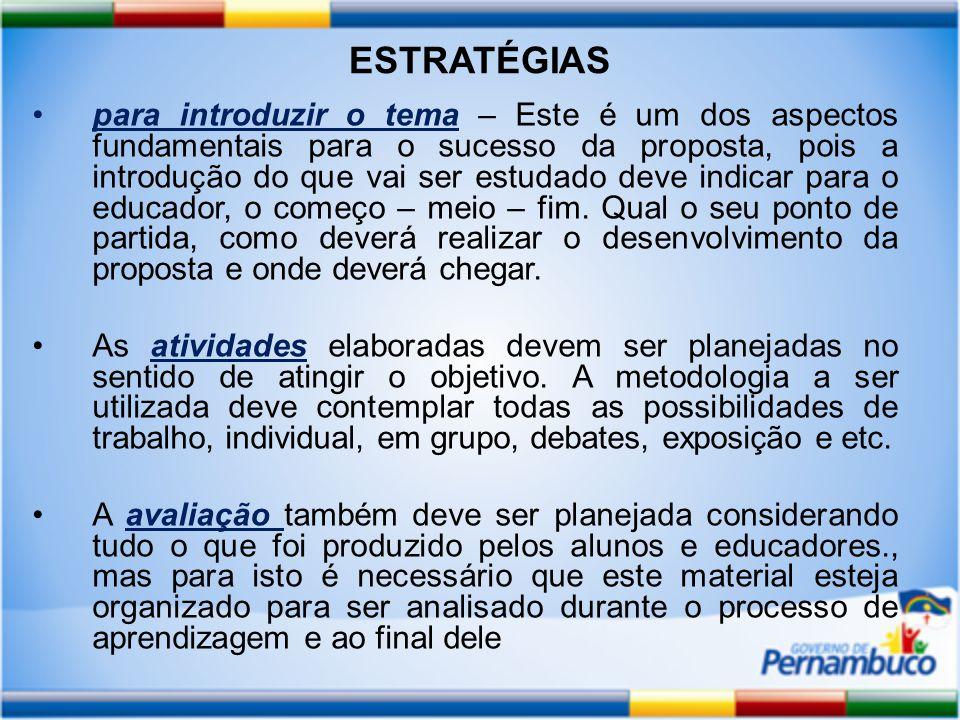 ESTRATÉGIAS para introduzir o tema – Este é um dos aspectos fundamentais para o sucesso da proposta, pois a introdução do que vai ser estudado deve indicar para o educador, o começo – meio – fim.
