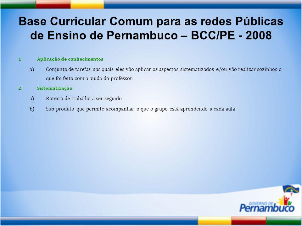 Base Curricular Comum para as redes Públicas de Ensino de Pernambuco – BCC/PE - 2008 1.Aplicação de conhecimentos a)Conjunto de tarefas nas quais eles vão aplicar os aspectos sistematizados e/ou vão realizar sozinhos o que foi feito com a ajuda do professor.