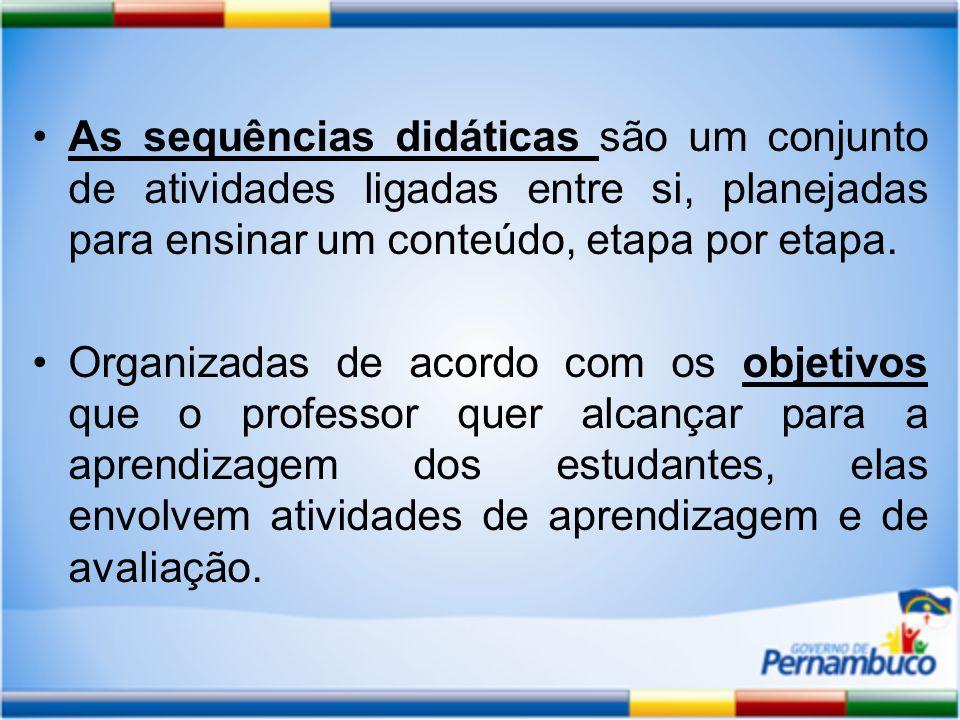 As sequências didáticas são um conjunto de atividades ligadas entre si, planejadas para ensinar um conteúdo, etapa por etapa.