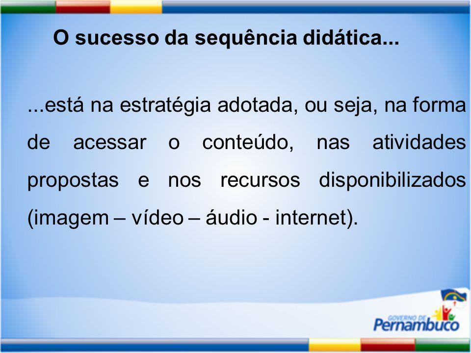 ...está na estratégia adotada, ou seja, na forma de acessar o conteúdo, nas atividades propostas e nos recursos disponibilizados (imagem – vídeo – áudio - internet).