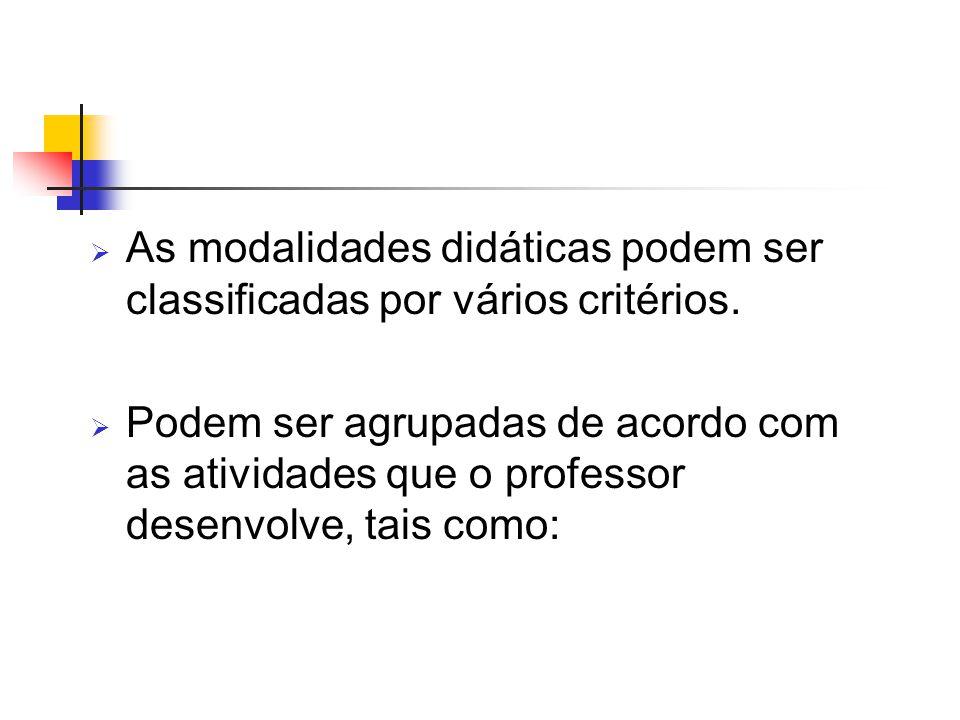  As modalidades didáticas podem ser classificadas por vários critérios.