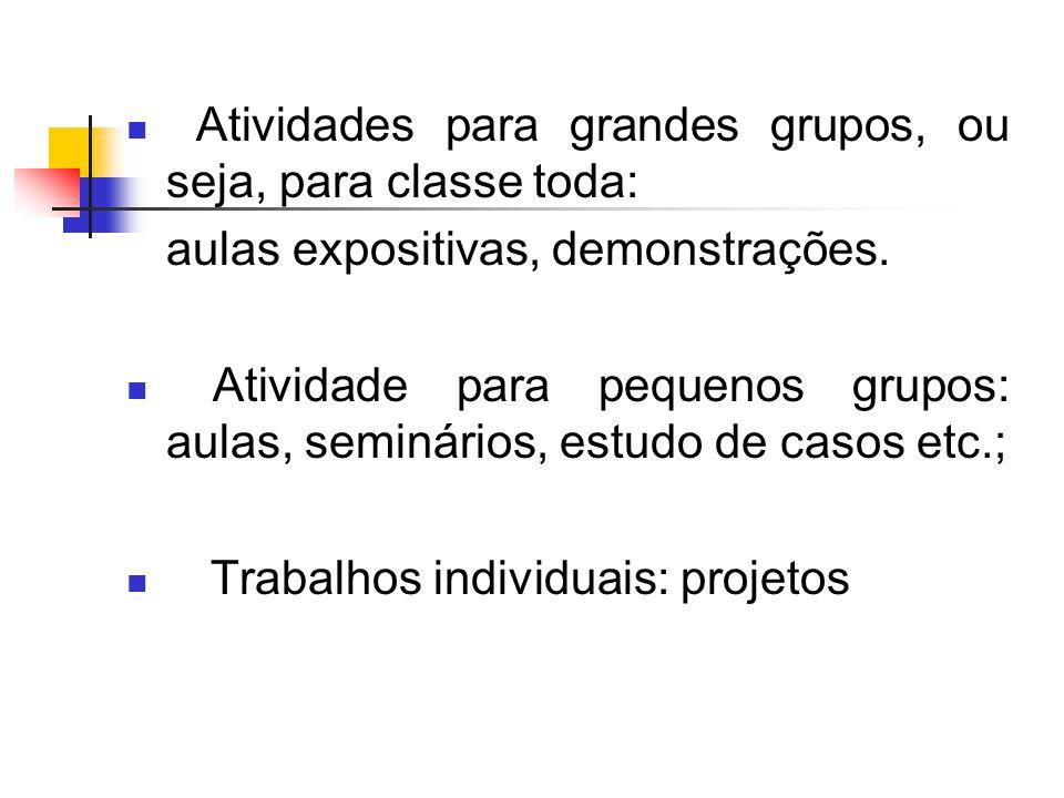 Atividades para grandes grupos, ou seja, para classe toda: aulas expositivas, demonstrações.