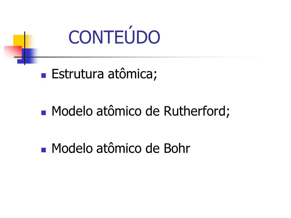 CONTEÚDO Estrutura atômica; Modelo atômico de Rutherford; Modelo atômico de Bohr