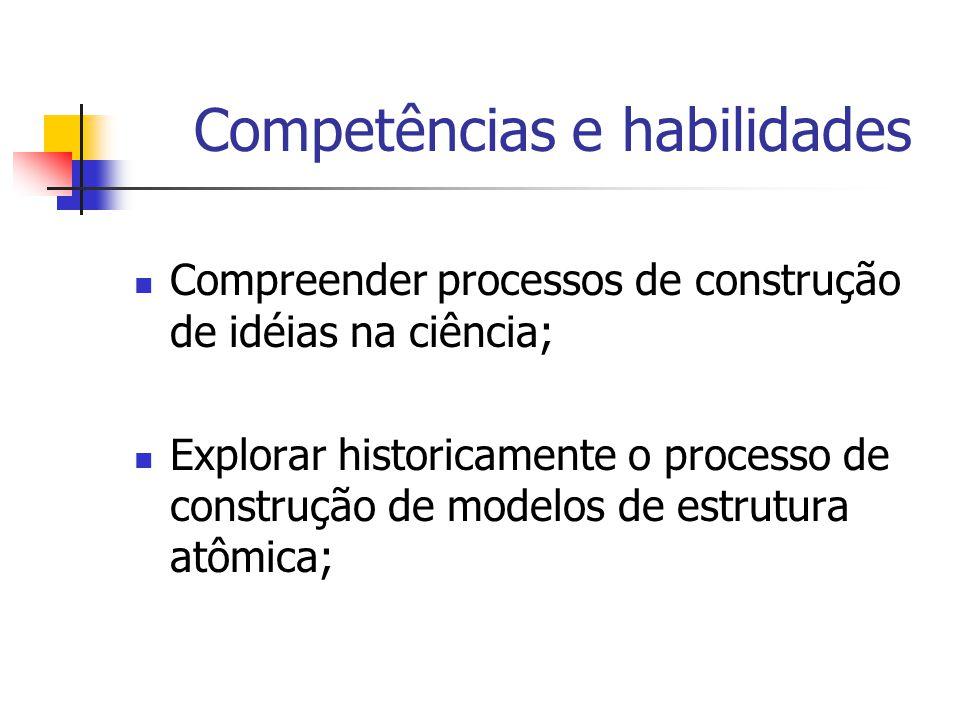 Competências e habilidades Compreender processos de construção de idéias na ciência; Explorar historicamente o processo de construção de modelos de estrutura atômica;