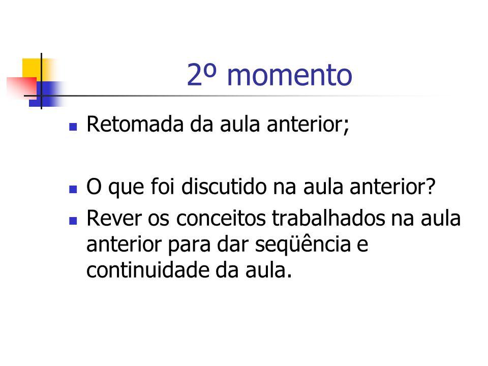 2º momento Retomada da aula anterior; O que foi discutido na aula anterior.