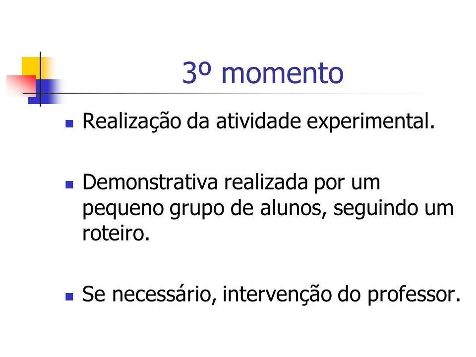 3º momento Realização da atividade experimental.