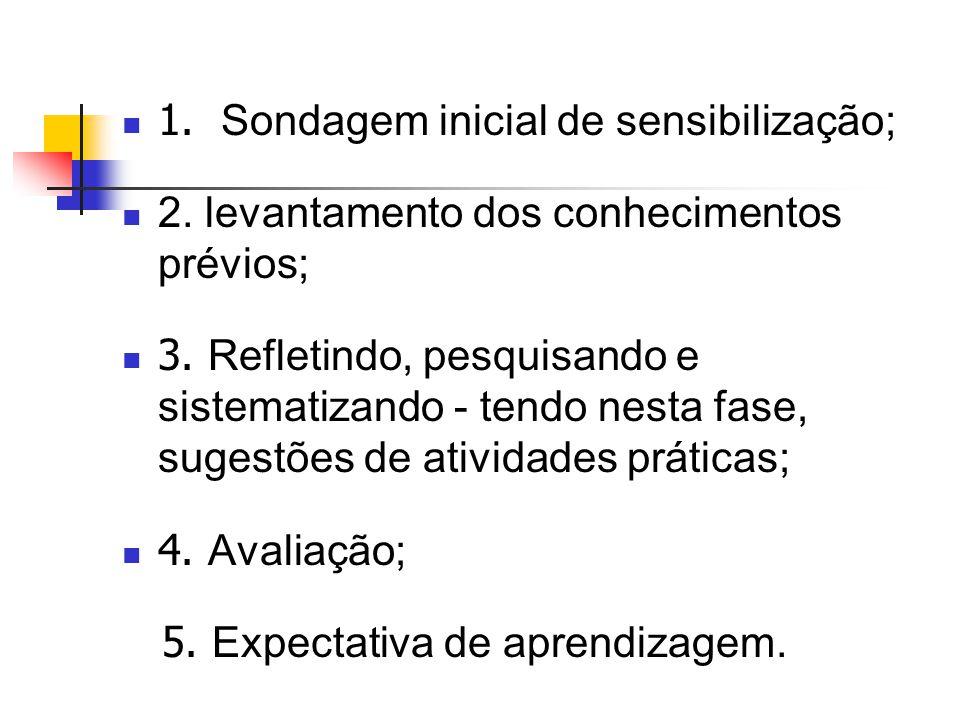 1. Sondagem inicial de sensibilização; 2. levantamento dos conhecimentos prévios; 3.
