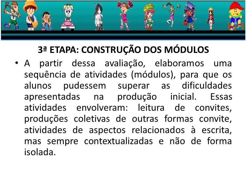 3ª ETAPA: CONSTRUÇÃO DOS MÓDULOS A partir dessa avaliação, elaboramos uma sequência de atividades (módulos), para que os alunos pudessem superar as dificuldades apresentadas na produção inicial.