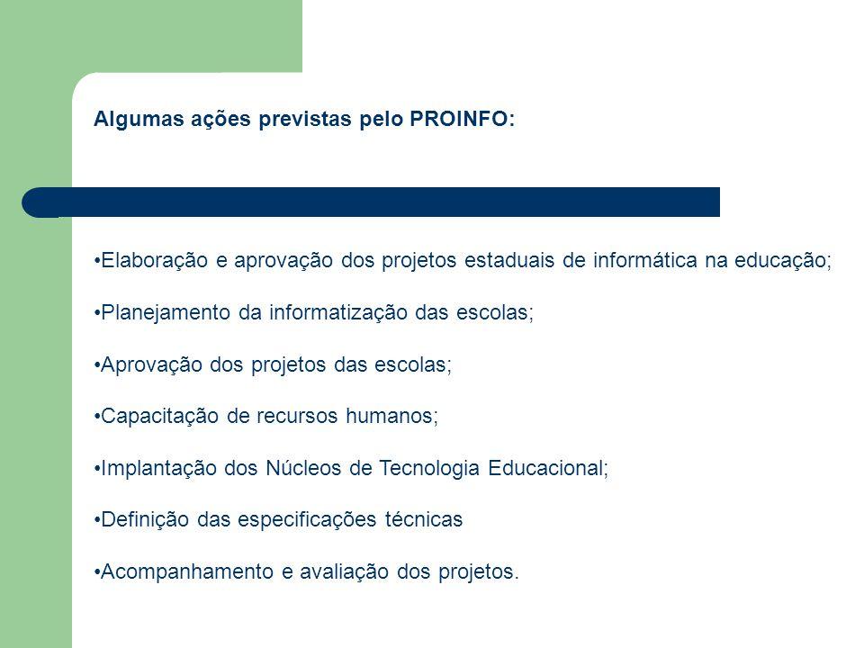 Algumas ações previstas pelo PROINFO: Elaboração e aprovação dos projetos estaduais de informática na educação; Planejamento da informatização das escolas; Aprovação dos projetos das escolas; Capacitação de recursos humanos; Implantação dos Núcleos de Tecnologia Educacional; Definição das especificações técnicas Acompanhamento e avaliação dos projetos.