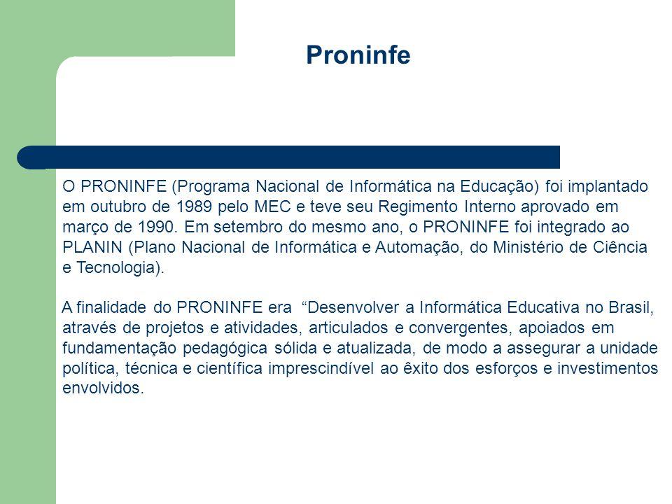 Proninfe O PRONINFE (Programa Nacional de Informática na Educação) foi implantado em outubro de 1989 pelo MEC e teve seu Regimento Interno aprovado em março de 1990.