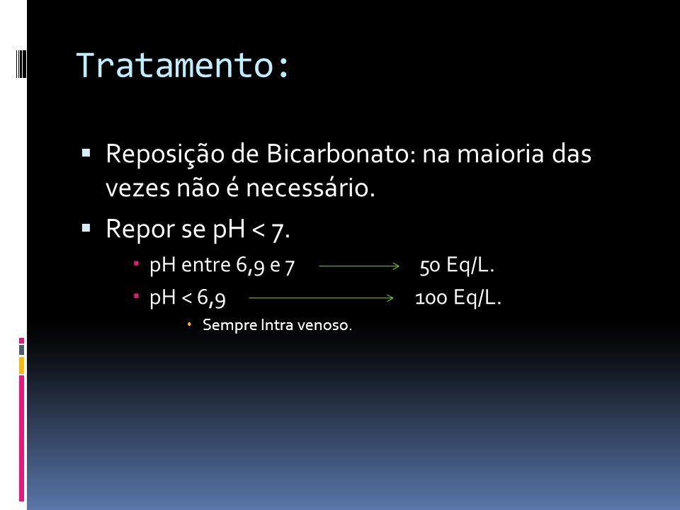 Tratamento:  Reposição de Bicarbonato: na maioria das vezes não é necessário.  Repor se pH < 7.  pH entre 6,9 e 7 50 Eq/L.  pH < 6,9100 Eq/L.  Se
