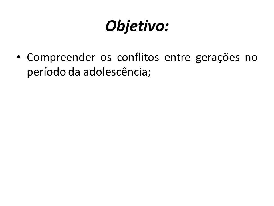 Objetivo: Compreender os conflitos entre gerações no período da adolescência;