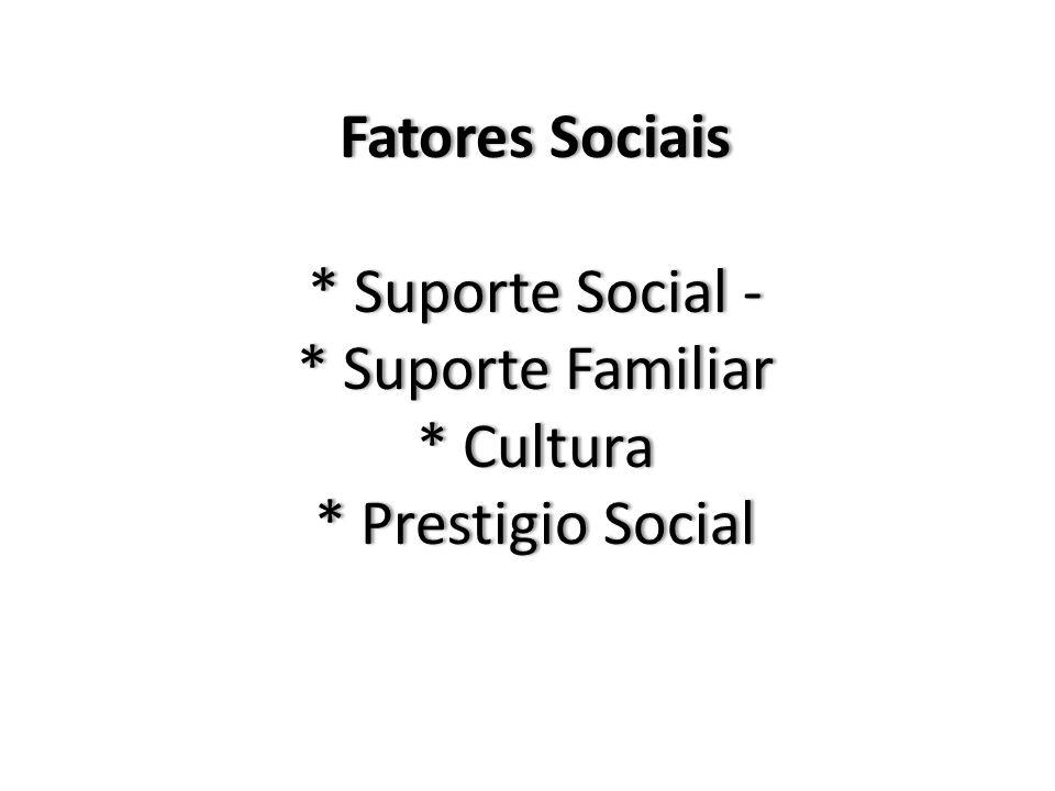 Fatores Sociais * Suporte Social - * Suporte Familiar * Cultura * Prestigio Social