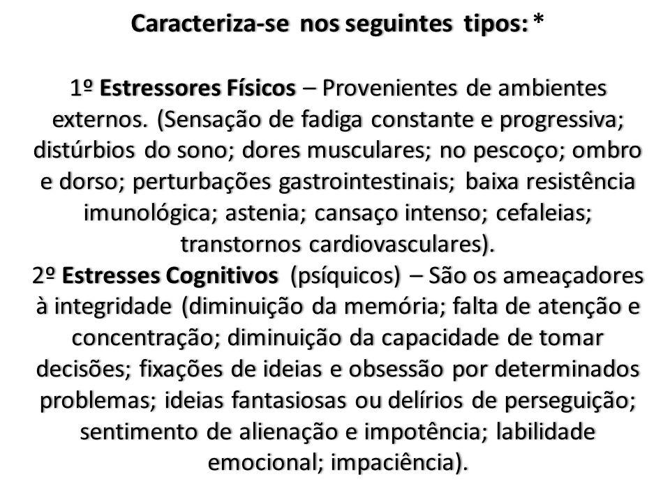 Caracteriza-se nos seguintes tipos: 1º Estressores Físicos – Provenientes de ambientes externos.