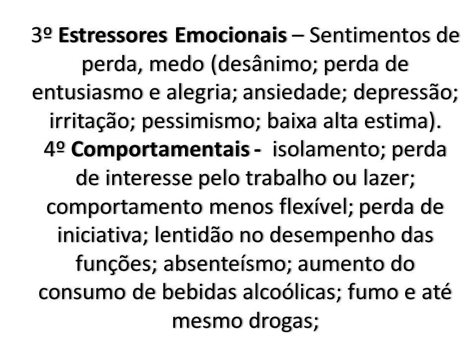 3º Estressores Emocionais – Sentimentos de perda, medo (desânimo; perda de entusiasmo e alegria; ansiedade; depressão; irritação; pessimismo; baixa alta estima).