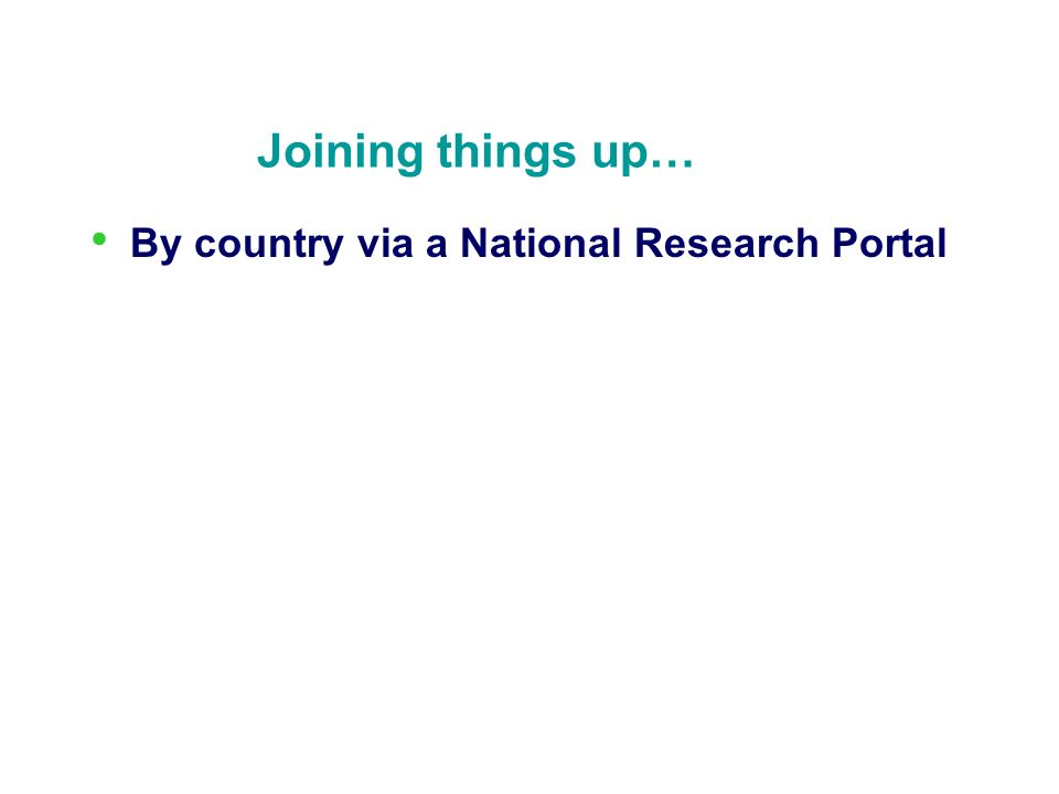Joining things up… By country via a National Research Portal