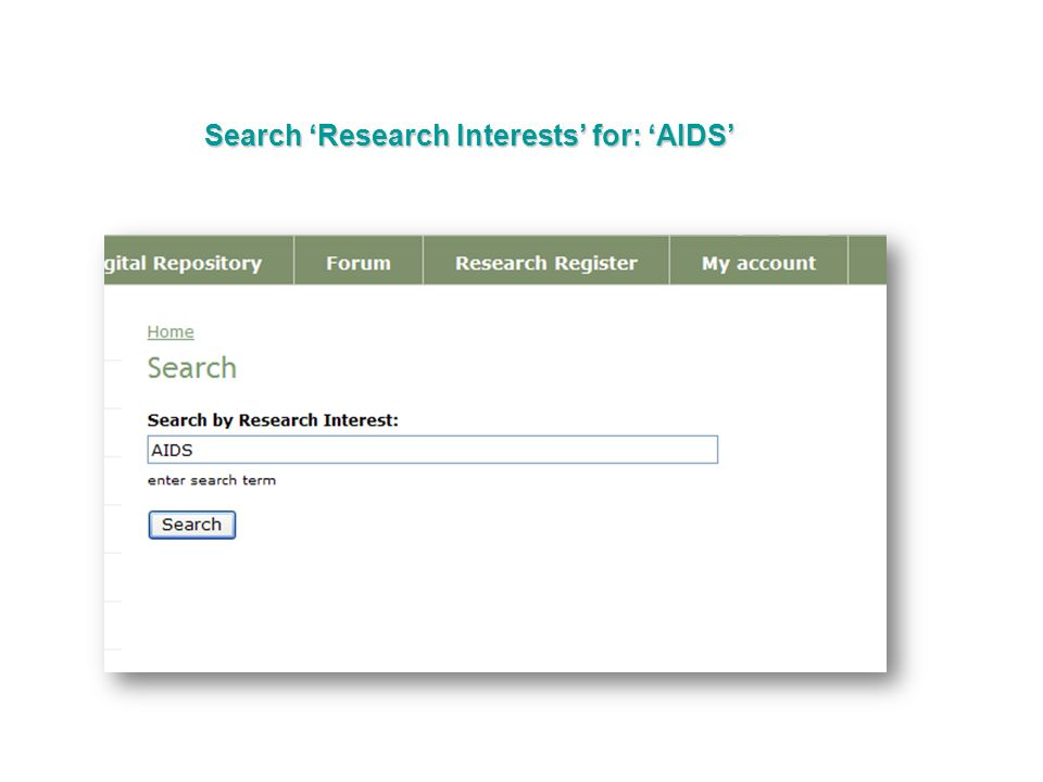 Search Research Interests for: AIDS
