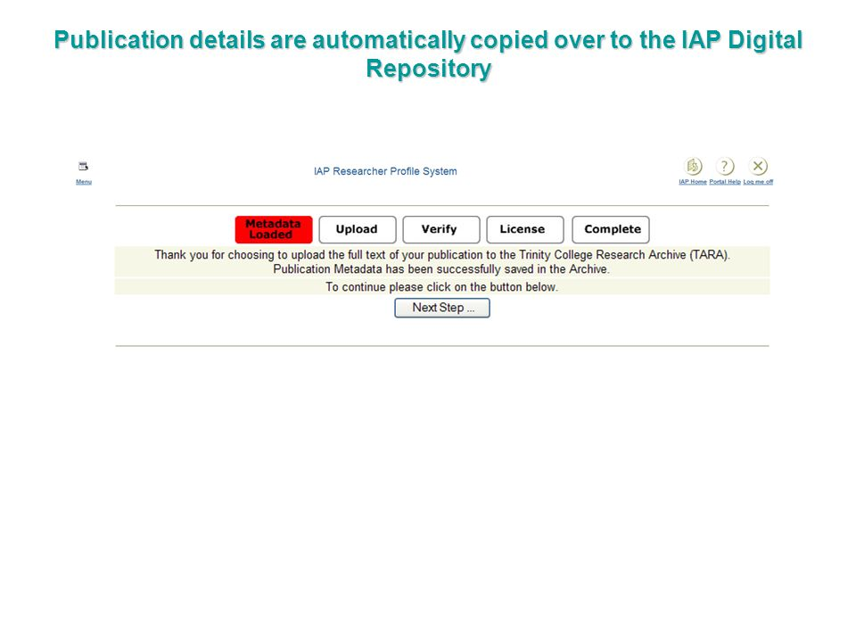 Publication details are automatically copied over to the IAP Digital Repository