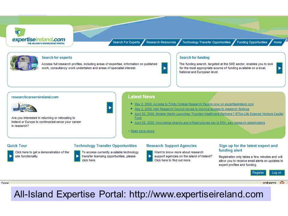 All-Island Expertise Portal: http://www.expertiseireland.com