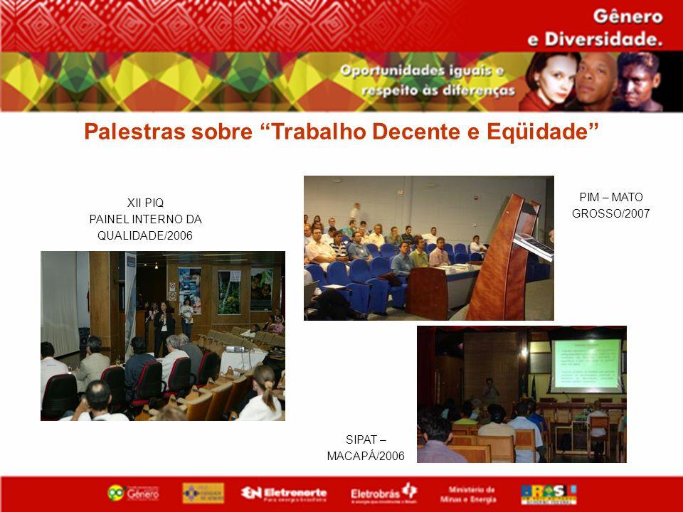 Palestras sobre Trabalho Decente e Eqüidade XII PIQ PAINEL INTERNO DA QUALIDADE/2006 SIPAT – MACAPÁ/2006 PIM – MATO GROSSO/2007