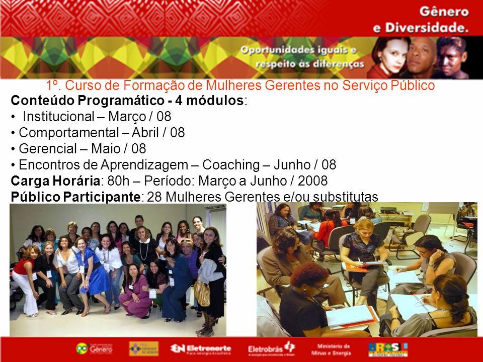 1º. Curso de Formação de Mulheres Gerentes no Serviço Público Conteúdo Programático - 4 módulos: Institucional – Março / 08 Comportamental – Abril / 0