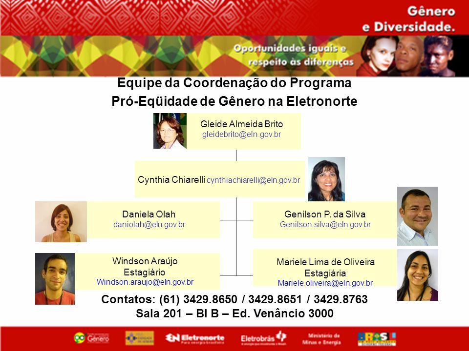 Contatos: (61) 3429.8650 / 3429.8651 / 3429.8763 Sala 201 – Bl B – Ed. Venâncio 3000 Equipe da Coordenação do Programa Pró-Eqüidade de Gênero na Eletr