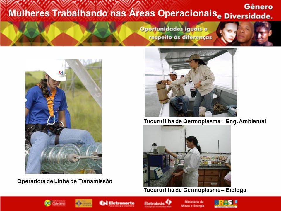 Tucuruí Ilha de Germoplasma – Eng. Ambiental Operadora de Linha de Transmissão Tucuruí Ilha de Germoplasma – Biologa Mulheres Trabalhando nas Áreas Op