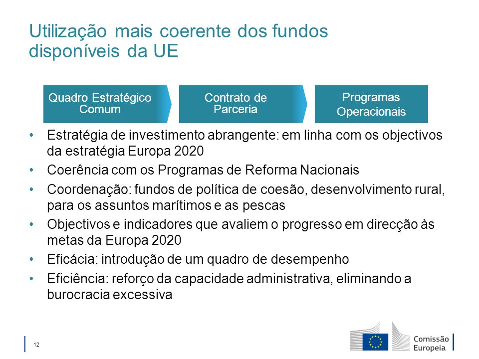 12 Utilização mais coerente dos fundos disponíveis da UE Estratégia de investimento abrangente: em linha com os objectivos da estratégia Europa 2020 Coerência com os Programas de Reforma Nacionais Coordenação: fundos de política de coesão, desenvolvimento rural, para os assuntos marítimos e as pescas Objectivos e indicadores que avaliem o progresso em direcção às metas da Europa 2020 Eficácia: introdução de um quadro de desempenho Eficiência: reforço da capacidade administrativa, eliminando a burocracia excessiva Programas Operacionais Contrato de Parceria Quadro Estratégico Comum