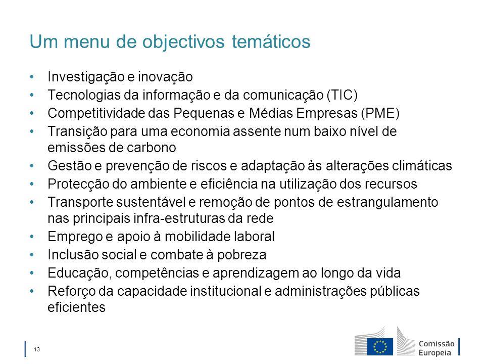 13 Um menu de objectivos temáticos Investigação e inovação Tecnologias da informação e da comunicação (TIC) Competitividade das Pequenas e Médias Empr