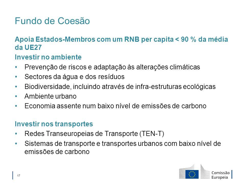 17 Fundo de Coesão Apoia Estados-Membros com um RNB per capita < 90 % da média da UE27 Investir no ambiente Prevenção de riscos e adaptação às alterações climáticas Sectores da água e dos resíduos Biodiversidade, incluindo através de infra-estruturas ecológicas Ambiente urbano Economia assente num baixo nível de emissões de carbono Investir nos transportes Redes Transeuropeias de Transporte (TEN-T) Sistemas de transporte e transportes urbanos com baixo nível de emissões de carbono