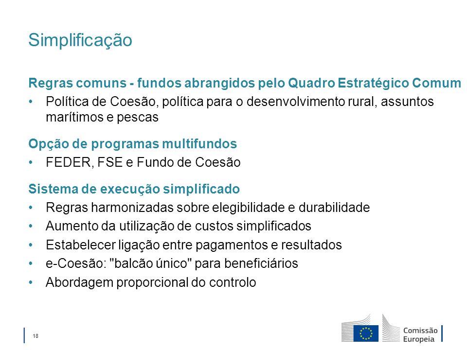 18 Simplificação Regras comuns - fundos abrangidos pelo Quadro Estratégico Comum Política de Coesão, política para o desenvolvimento rural, assuntos marítimos e pescas Opção de programas multifundos FEDER, FSE e Fundo de Coesão Sistema de execução simplificado Regras harmonizadas sobre elegibilidade e durabilidade Aumento da utilização de custos simplificados Estabelecer ligação entre pagamentos e resultados e-Coesão: balcão único para beneficiários Abordagem proporcional do controlo