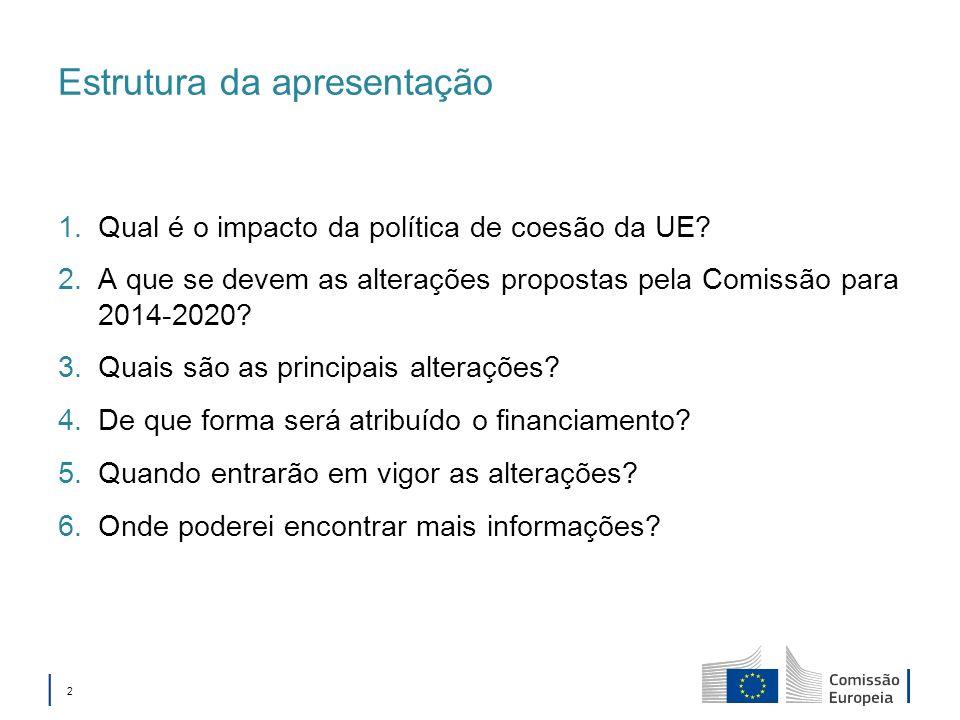 2 Estrutura da apresentação 1.Qual é o impacto da política de coesão da UE? 2.A que se devem as alterações propostas pela Comissão para 2014-2020? 3.Q