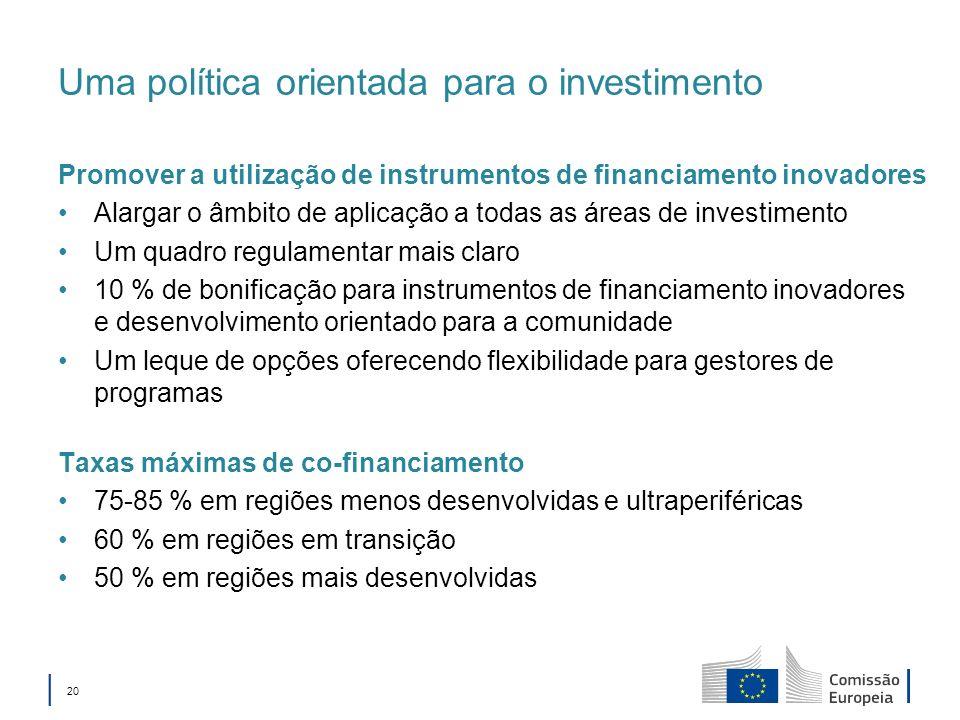 20 Uma política orientada para o investimento Promover a utilização de instrumentos de financiamento inovadores Alargar o âmbito de aplicação a todas