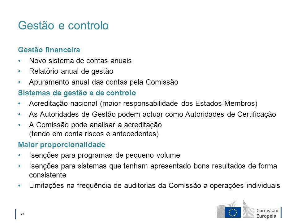 21 Gestão e controlo Gestão financeira Novo sistema de contas anuais Relatório anual de gestão Apuramento anual das contas pela Comissão Sistemas de g
