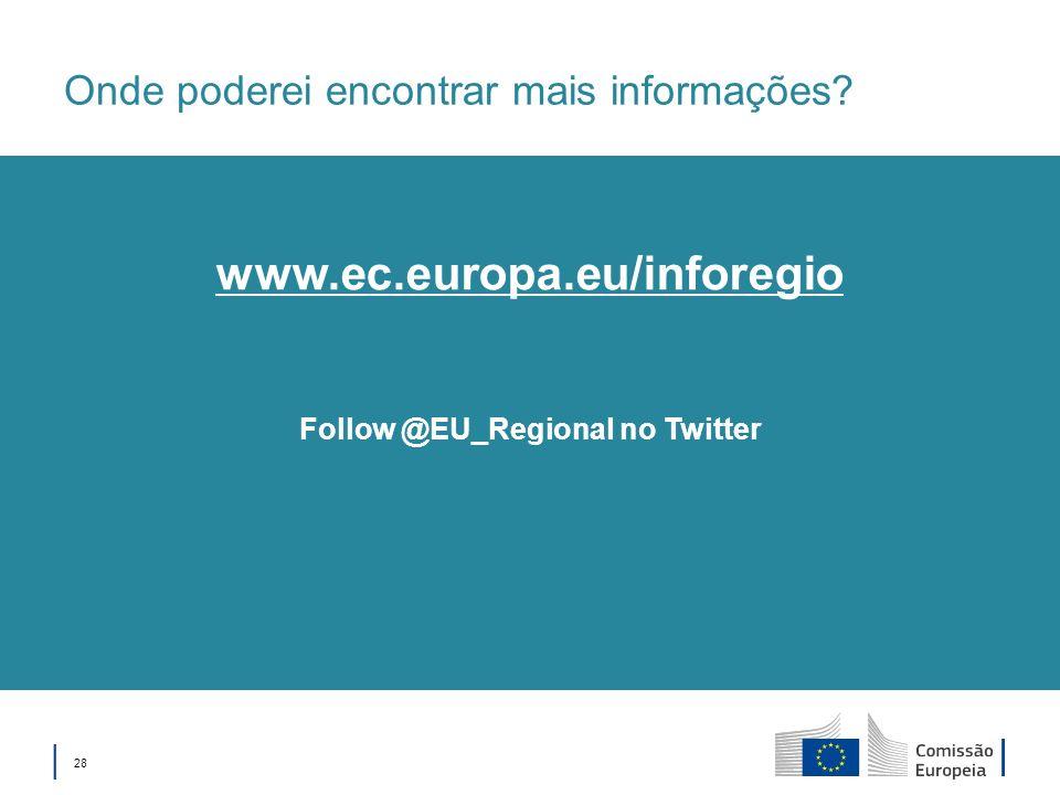 28 Onde poderei encontrar mais informações? Follow @EU_Regional no Twitter www.ec.europa.eu/inforegio