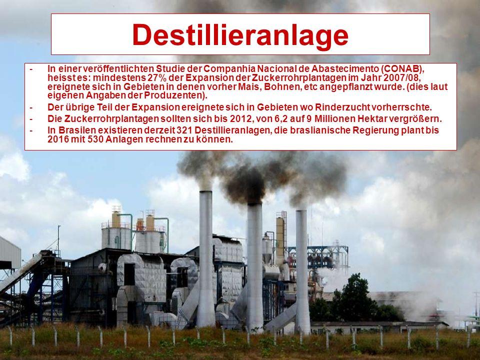 Destillieranlage -In einer veröffentlichten Studie der Companhia Nacional de Abastecimento (CONAB), heisst es: mindestens 27% der Expansion der Zuckerrohrplantagen im Jahr 2007/08, ereignete sich in Gebieten in denen vorher Mais, Bohnen, etc angepflanzt wurde.